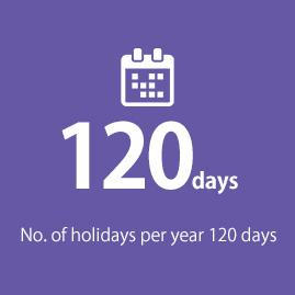 No. of holidays per year 119 days